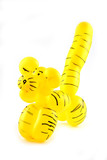 High resolution yellow twisted balloon tiger isolated on white - Fine Art prints