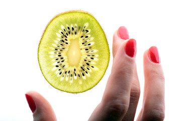 scientific study sample kiwi, closeup, hands of the researcher