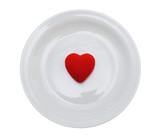 heart in plate isolated over white background poster