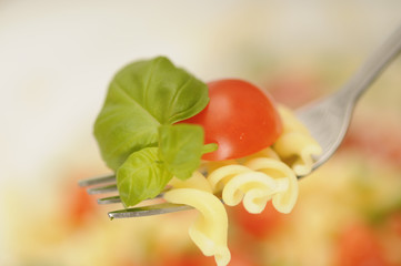 close-up of a fork with fresh pasta salad