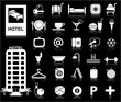 Hotel Icons set - Vector / White series