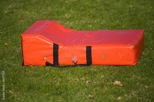 rugby tackle sport bag lying on the ground after being used