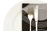 White plate with cutlery and contemporary napkin poster