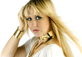 blond beauty with golden jewellery poster