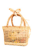 natural basket isolated on the white background