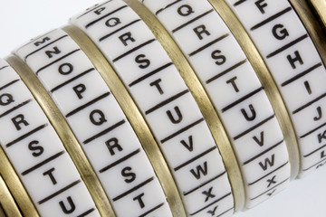 Word TRUTH set as a keyword in a combination puzzle box, Cryptex