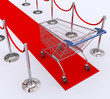 Red carpet for the best client. Concept of good customer
