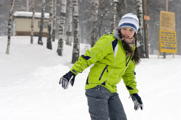 A  health lifestyle image of young  beautiful snowboarder girl