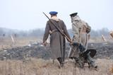 Russian soldiers.Civil war 1918. reenacting poster
