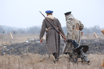 Russian soldiers.Civil war 1918. reenacting