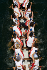Dragon boat racers paddling