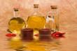 Essential body massage oils in bottles