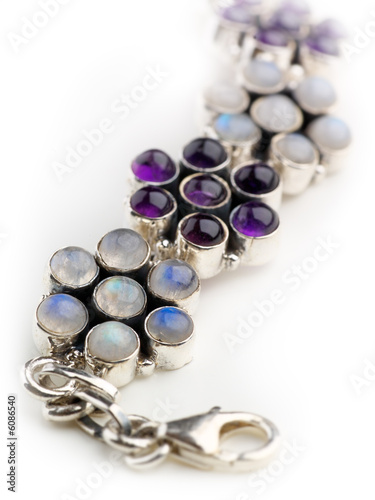 costume jewellry in silver with moonstone