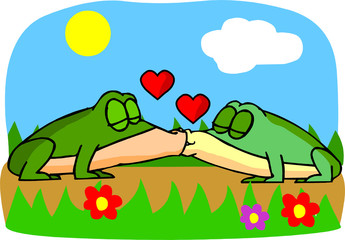 ILLUSTRATION,FROG,ONESELF,KISS