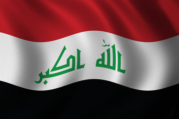 Iraq flag waving in the wind - new official flag
