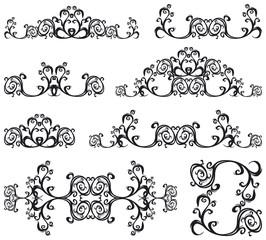 Decorative set III b&w. 8 black floral elements.