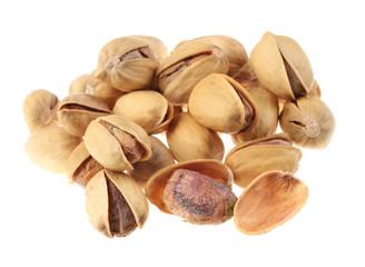 Pistachio nut group isolated on white background