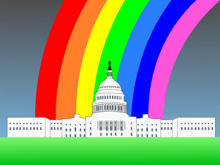 US capitol building Washington DC with rainbow