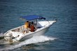 Sport Fishing Boat with Blue Canvas Canopy - 6096356