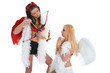 angel and devil over white background
