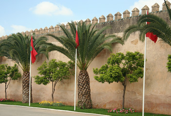 Meknes walls with flags
