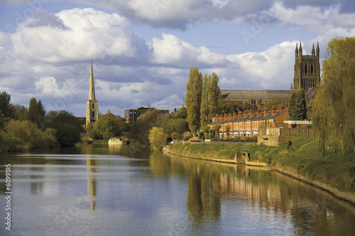 poster of worcester city the river severn worcestershire the midlands