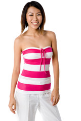 A pretty Asian woman in a pink and white summer outfit