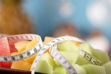 Melonensalat mit massband