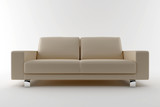 3d beige sofa isolated on white background