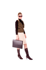 Businesswoman hold business bag over white background.