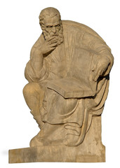Stone sculpture of Aristoteles. Isolated with path.