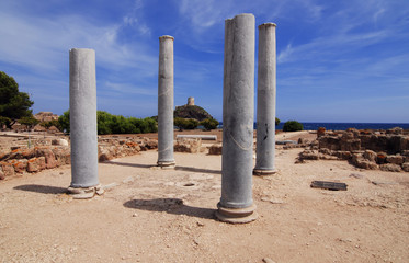 Ancient ruins of Nora on Sardinia in Italy
