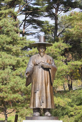 Iron statue of confucian officer. Period of Middle Ages in Asia
