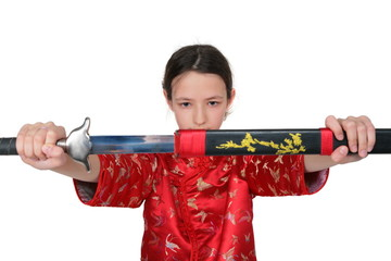 Kung fu girl takes out sword
