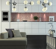 Modern kitchen and couch