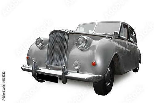 vintage silver wedding car