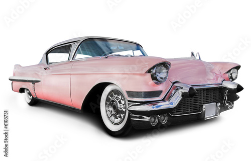 Poster Oude auto s pink cadillac