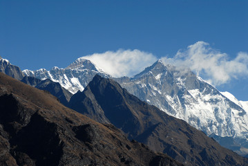Mt.Everest and Lhotse with jet stream