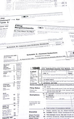Income tax forms with selective focus