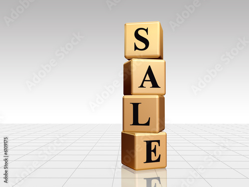3d golden boxes with black text sale with reflection