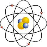 Atom with electron orbits poster