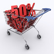 Shopping cart full of percentage. Concept of discount.