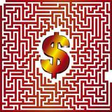 Find the way to dollar thru this 3D maze poster