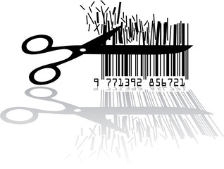 Bar code with scissors isolated on white background