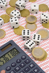 dices, coins and calculator on binary background