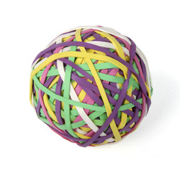 Isolated rubberband ball on white background