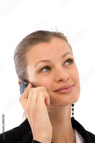 young and beautiful businesswoman talking on the cell phone