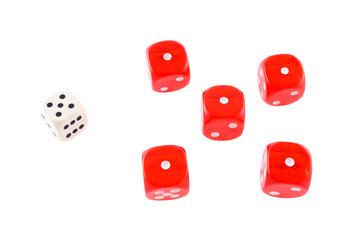 red dices and white one