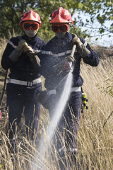 firemen putting out bush fire