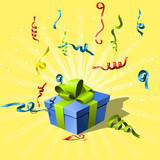 flying confetti and gift box with ribbon poster